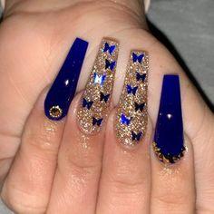 Gold Acrylic Nails, Blue Coffin Nails, Summer Acrylic Nails, Blue Gold Nails, Summer Nails, Cute Acrylic Nail Designs, Beautiful Nail Designs, Nail Designs Bling, Perfect Nails