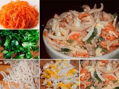 "Вкусный салат с кальмарами ""Сеул"" Shrimp, Cabbage, Chicken, Vegetables, Food, Chef Recipes, Kochen, Cabbages, Hoods"