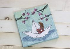 Paper Boat  Blue Print  Canvas Wall Art  Girls Room by CutTheFish, $36.00