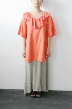 Orange Gauzy Ruffle Top