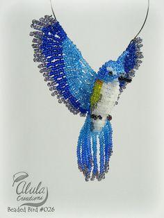 Beaded Bird Ornament, Blue Bird Necklace, 3D Bird Suncatcher, Bead Bird Window…