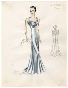 Bergdorf Goodman sketches. 1934-1943. The Metropolitan Museum of Art, New York. Costume Institute. #elegant #bergdorfgoodman | This dress is a reminder of the Met Gala.