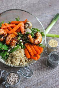 Blog Cuisine & DIY Bordeaux - Bonjour Darling - Anne-Laure: Délicieux Bol-Déjeuner : Crevettes caramélisées x Légumes x Quinoa