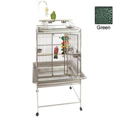 Playtop Bird Cage - 24 in. x 22 in. x 62 in. - Green  | This Play Top Cage with toy hook is constructed of wrought iron. Each cage includes the stand with 4 durable rolling casters, Bird proof front door and feeder door locks, Play top with 2 ladders, perch, and toy hook, Horizontal side bars, vertical bars front and back, 5/8 in. bar spacing, …