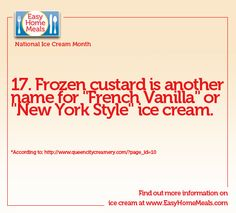 It's Day 17 of National What's your preference: frozen custard or soft-serve ice cream? National Ice Cream Month, Home Meals, Frozen Custard, New York Style, Soft Serve, French Vanilla, Day, Italian Ice