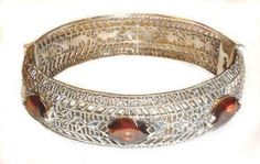 Art Deco Style Sterling Silver Filigree Gemstone Bangle Bracelet