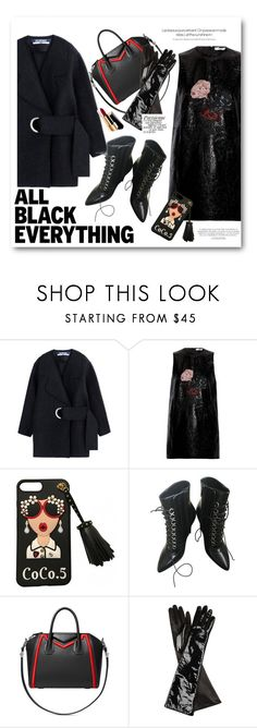 """""""all black everything"""" by bonadea007 ❤ liked on Polyvore featuring Jacquemus, Ganni, Yves Saint Laurent, Givenchy, Gucci, Magdalena, Chanel and allblackoutfit"""
