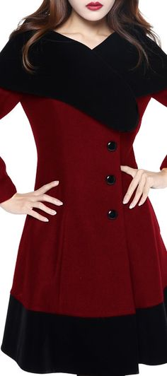 Retro Wool Coat with Velvet Collar by Amber Middaugh Standard Size  79.95  Plus Size 95.95 0964e0e22d
