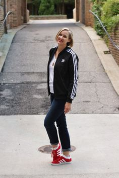 old school adidas originals black supergirl track jacket and red adidas  gazelle sneakers, over 40