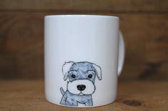 Hand painted animal mug  - Cute mug cup - dog mug cup - dog mug - Schnauzer dog by CreativeStoneCera on Etsy