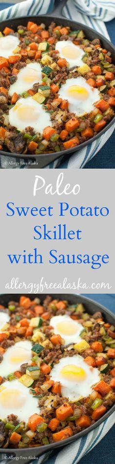 Paleo Sweet Potato Breakfast Skillet with Sausage Recipe from Allergy Free Alaska
