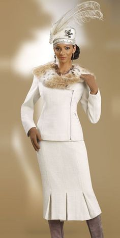 Image detail for -Donna Vinci Couture 5372 Womens Ivory Church Suit with Faux Fur image