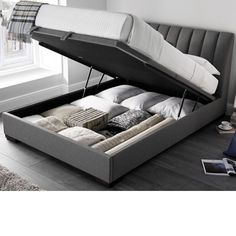 Lanchester Elephant Grey Fabric Ottoman Storage BedYou can find Storage beds and more on our website. Bedroom Bed Design, Design Living Room, Bedroom Furniture Design, Bed Furniture, Box Bed Design, Design Design, Modern Storage Furniture, Furniture Outlet, Cheap Furniture