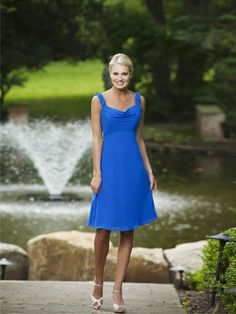 A-line straps glamorous chiffon bridesmaid dress