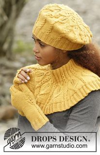 "Free Pattern ~ DROPS / 173 / 43 ~ Hello Sunshine by DROPS Design ~ Set consists of: Knitted DROPS beret and neck warmer with leaf pattern worked top down in ""Lima"" and DROPS wrist warmers with leaf pattern in ""Lima"".Um colar de boina e luva d Knitting Patterns Free, Knit Patterns, Free Knitting, Baby Knitting, Free Pattern, Neck Pattern, Knitted Beret, Knitted Shawls, Drops Design"