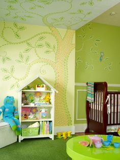 Extreme Makeover: Home Edition's Tracy Hutson Talks to CBB About Feathering the Nest – Moms & Babies – Moms & Babies - People.com  -  Here is the bedroom mural I painted for her niece's bedroom.  I used the bedding Tracy selected to inspire the stitching pattern of the nursery tree.