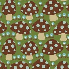 Dottie Mushroom -Fliegenpilze braun,grüngrundig von Der Stoffstand   auf DaWanda.com