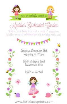 Enchanted Fairy Invitations - Little Laws Prints