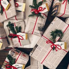 25 Newspaper Gift Wrapping Ideas One Brick At A Time Christmas Mood, Christmas Crafts, Christmas Decorations, Christmas Gift Wrapping, Holiday Gifts, Santa Gifts, Creative Gift Wrapping, Wrapping Gifts, Cute Gift Wrapping Ideas