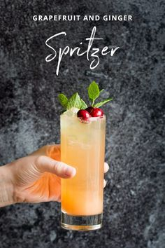 A delicious grapefruit and ginger spritzer, a fun mocktail everyone will enjoy!