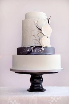 modern wedding cakes | ... Bakery, Modern Wedding Cake, Cake with Tree, Silver and White Cake