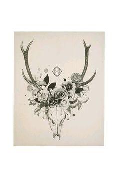 Goat skull - maybe with different flowers and no shape? Bild Tattoos, Love Tattoos, Body Art Tattoos, Tattoo Drawings, Tatoos, Deer Skull Tattoos, Deer Skulls, Animal Skulls, Tatoo Symbol
