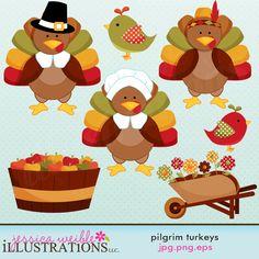 Pilgrim Turkeys cute set comes with 7 cute graphics including: a turkey in a pilgrim hat, a turkey in a girl pilgrim bonnet, a turkey with an Indian headband, 2 cute birds, a bushel of apples and a wheel barrow full of flowers.