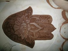 hamsa hand fully carved and leather hard #pottery #clay #fun #creations #ceramics #handmade #design #greatpottery #hamsahand