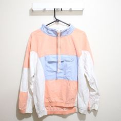 Vintage Gitano Beach Windbreaker Vintage Gitano. Beach vibe top. Quarter zip collar. Front button pocket. Draw string neck. Faded pastel colors. Vintage with no condition issues.   ~ ask me any questions ~ Gitano Jackets & Coats Utility Jackets