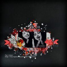 Coucou tout le monde Décidément, je me plais à scrapper sur fond noir. Voici une page réalisée pour La Malle Aux Fleurs avec encore un selfie d'Amélie et sa cousine Alyssia. Papiers : Bazzil, Canson. Tampons : La Scraposphère, Denim Tampons, tampon dateur....