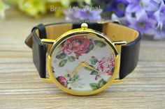 Floral Watch Vintage Style Leather Watch Black by BraceletTribal, $4.99 Fashion handmade leather jewelry