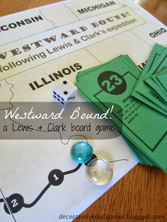 Westward Bound {A Lewis & Clark Board Game} at Relentlessly Fun, Deceptively Educational. This free printable board game takes kids along the western route of Lewis and Clark's expedition, learning facts and the events that happened along the way! 4th Grade Social Studies, Social Studies Classroom, Social Studies Resources, Teaching Social Studies, Teaching History, Student Teaching, Clarks, Washington State History, Educational Board Games