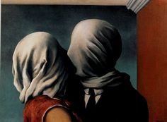 """""""Les amants"""" (The lovers, 1928), by René Magritte. Location: collection Richard S. Zeiler (New York)"""