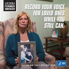 A Tip From A Former Smoker: Record your voice for loved ones while you still can. For free help to quit smoking, call Quit Now, Help Quit Smoking, Social Media Content, Your Voice, Real People, Improve Yourself, First Love, Smokers, Tips