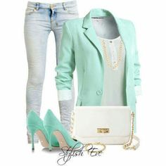 limpet shell blazer and pumps with light blue jeans Fashion Mode, Work Fashion, Cute Fashion, Fashion Outfits, Womens Fashion, Spring Fashion, Daily Fashion, Fashion Ideas, Polyvore Outfits