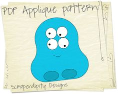 PDF Applique Template  Blue Monster AlienMonster Alien Shirt Applique Template - Monster Applique / DIY Halloween Table Runner / PDF Monster Baby Quilt / Boy Applique Template by ScrapendipityDesigns, $2.50