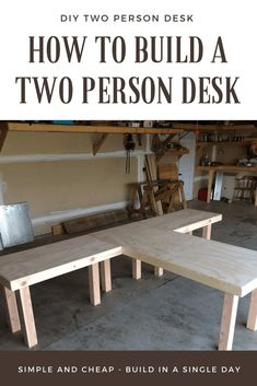Home Office Desk Plans . Home Office Desk Plans . How to Build A Two Person Desk Wood Office Desk, Home Office Space, Home Office Desks, Home Office Furniture, Office With 2 Desks, Wood Desk, Pipe Furniture, Furniture Design, Two Person Desk