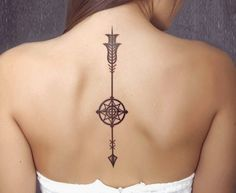 Arrow tattoo-with-compass-as-back-tattoo-idea-for-women - Tattoos - Spine Tattoos, Body Art Tattoos, New Tattoos, Tattoos For Guys, Tattoos For Women, Tatoos, Tatuajes Tattoos, Mens Arrow Tattoo, Arrow Tattoo Design
