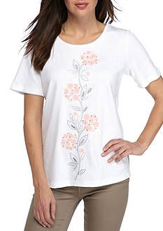 3d5da643 Alfred Dunner Petite Rose Hill Hydrangea Knit Petite Tops, Alfred Dunner,  Floral Embroidery,