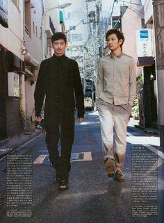 Eita 瑛太 & Matsuda Ryuhei 松田龍平.... Or, Tada & Gyōten, accepting a photoshoot job.