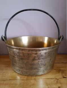A Fantastic Antique Brass Jam Pan, Large Antique Brass Jam Pan, Antique Brass Kitchen Ware, Large Brass Cooking Pan,  Victorian Cooking Pot by OnyxCollectables on Etsy