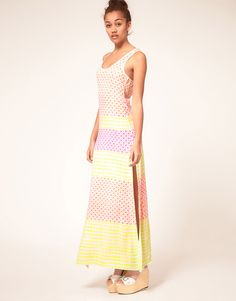 Hetis Colors Neon Hand Block Printed Racer Maxi Dress