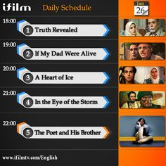 Dear everybody, Here is today's iFilm schedule. Enjoy!  www.ifilmtv.com/English/