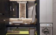 Kis fürdőszoba elegáns látványos berendezés - sötét világos és fa hatású burkolatok