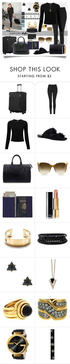 """""""Airport Look"""" by jeneric2015 ❤ liked on Polyvore featuring Victorinox Swiss Army, Topshop, Pure Collection, Balenciaga, Louis Vuitton, Royce Leather, Chanel, Tiffany & Co., Spring Street and Chicnova Fashion"""