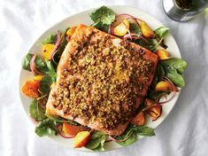 A simple crust of toasted pistachios takes salmon from everyday delicious to special enough for guests. For even cooking, look for a fillet that is Salmon Recipes, Fish Recipes, Seafood Recipes, Healthy Recipes, Recipies, Seafood Meals, Gf Recipes, Seafood Dishes, Quick Recipes