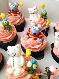 Toopy and Binoo Cupcakes! Kid Parties, 2nd Birthday Parties, Birthday Ideas, Groupes, Character Cakes, Fun Cupcakes, Cake Ideas, First Birthdays, Kid Stuff