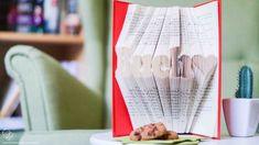 Buecher falten Anleitung Vorlage Buch Liebe Brösels Bücherregal Maila, Book Folding, Book Art, Recycling, Diy Crafts, How To Make, Home Decor, Board, Inspiration