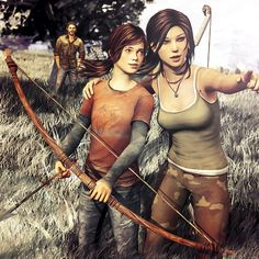 I am so beyond obsessed with this crossover... Lara Croft (Tomb Raider) with Ellie and Joel (The Last of Us)