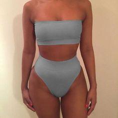 2017 Sexy Women Bandage Bikini Push Up Padded Bra Tube Top Swimsuit Bathing Suit 2PCs Set Swimwear Beachwear Solid Color Black